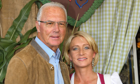 Franz Beckenbauer with friendly, fun, Wife Heidi Burmester